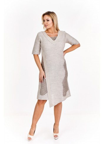 Asymetryczna sukienka z ażurowymi wstawkami Plus Size