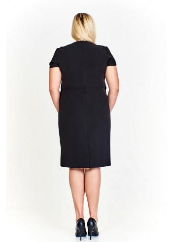 Elegancka sukienka z asymetryczną narzutką Plus Size