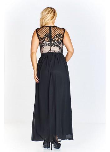 Sukienka wieczorowa maxi z koronkową górą Plus Size