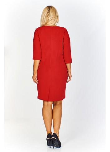 Monochromatyczna sukienka z kieszeniami Plus Size