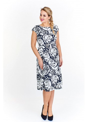Wzorzysta sukienka midi Plus Size