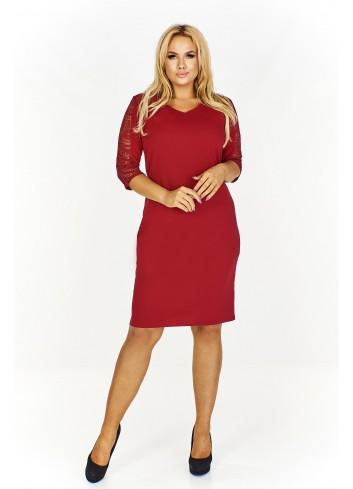 Monochromatyczna sukienka z koronkowymi rękawami 3/4 i dekoltem w serek PLUS SIZE