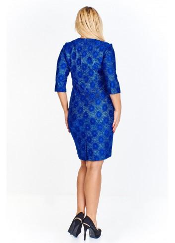 Ołówkowa sukienka z wytłaczanym wzorem i rękawem 3/4 Plus Size