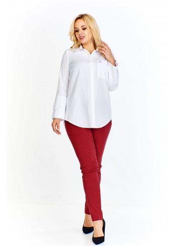Bluzka o koszulowym kroju z kieszonką na biuście i dużymi mankietami zapinanymi na guziczki