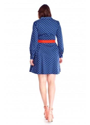 Rozkloszowana sukienka w kropki Plus Size