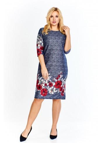 Sukienka o wielokolorowym melanżowym odcieniu urozmaicona kwiatowym wzorem