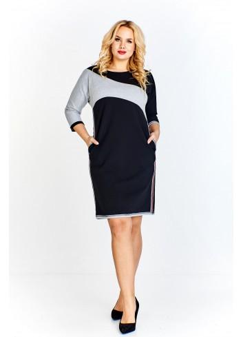 Dwukolorowa sukienka o sportowym kroju z lampasami Plus Size