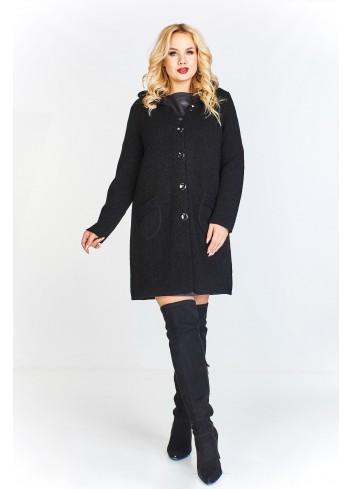 Płaszcz z domieszką wełny o kroju swetra z kapturem zapinany na guziki