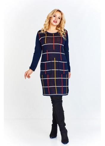 Sukienka z melanżowym przodem urozmaiconym różnokolorowymi liniami tworzącymi a'la kratę