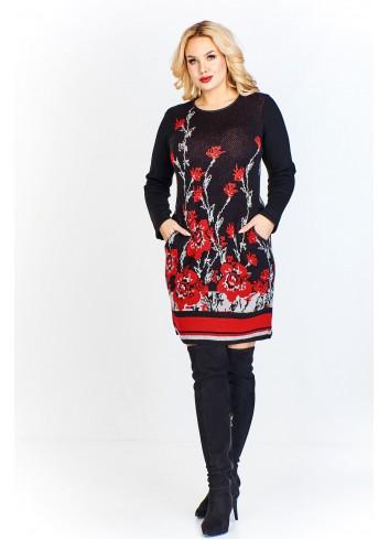 Swetrowa sukienka z kwiatowym wzorem i kolorowymi pasami u dołu i przy rękawach, lamówki a'la skórka