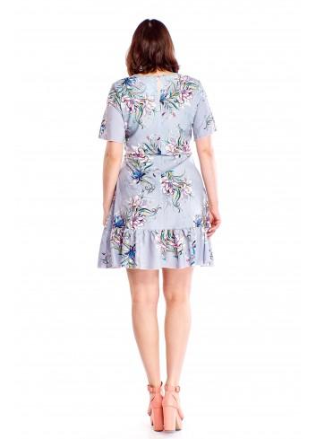 Wzorzysta sukienka z tasiemką Plus Size