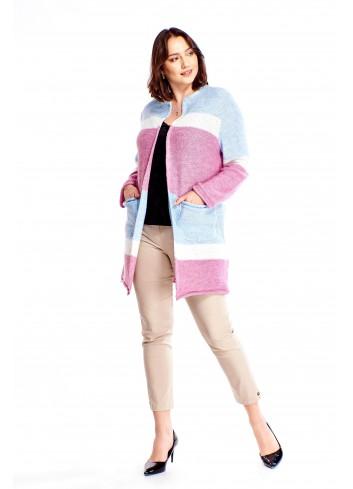 Sweter w poziome pasy Plus Size