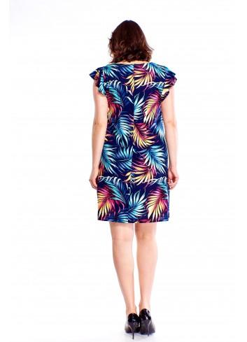 Wzorzysta sukienka z falbaniastymi rękawami Plus Size