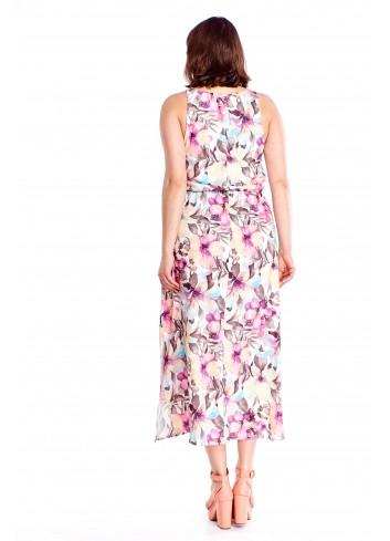 Letnia sukienka w kwiaty maxi Plus Size