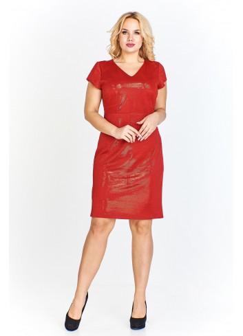 Połyskująca sukienka z krótkim rękawem i subtelnym dekolem w serek