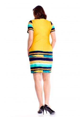 Ołówkowa sukienka z wzorzystymi wstawkami Plus Size