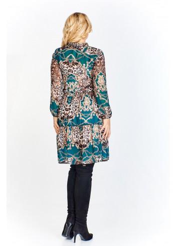Wzorzysta sukienka z wiązaniem przy dekolcie z lekko rozkloszowanym dołem z a'la kilku warstw