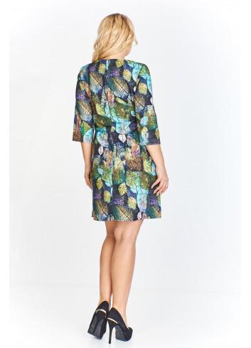 Sukienka o trapezowym kroju z rękawem o długości 3/4 Plus Size