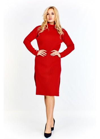 Sukienka z prążkowanej tkaniny, z golfem i rozporkami Plus Size