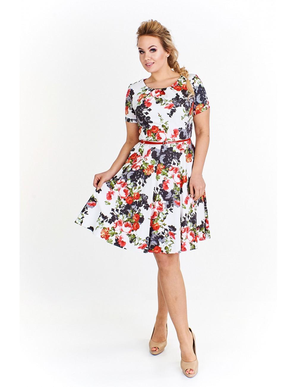 21dcc8cf5d5a08 Rozkloszowana sukienka w kawiaty Kolor Biały Rozmiar 44