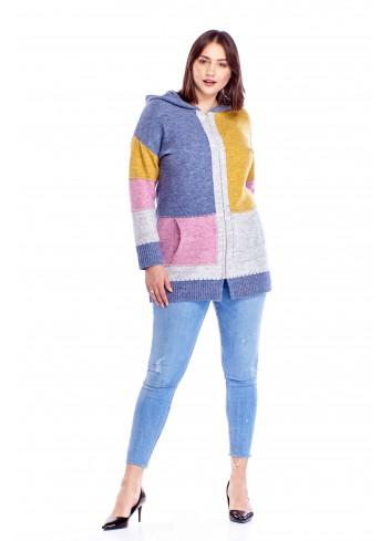 Długi sweter z kapturem Plus Size