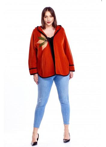 Oversize'owy sweter z kapturem Plus Size