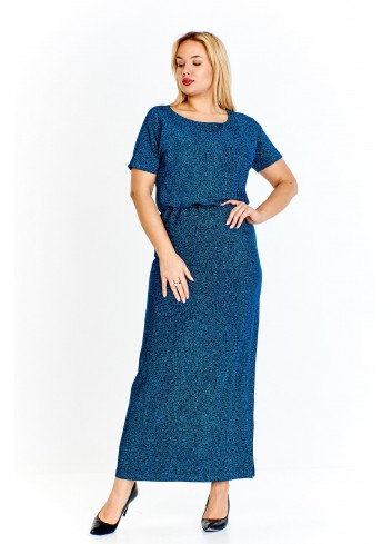 Błyszcząca sukienka maxi z gumką w pasie i głębokim rozporkiem