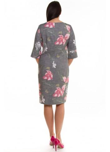 b747ee17e3 Melanżowa sukienka w kwiaty Kolor Szary Rozmiar 44