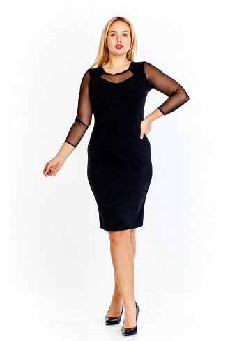 Ołówkowa sukienka z przejrzystymi rękawami i wstawkami na plecach i dekolcie