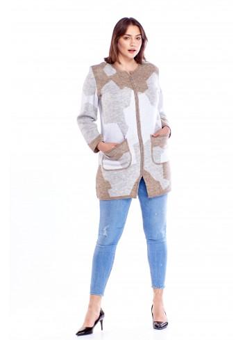 Dłuższy sweter we wzory Plus Size