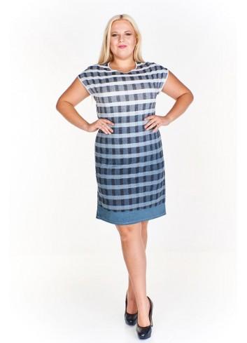 Sukienka w kratę z lnu o prostym fasonie Plus Size