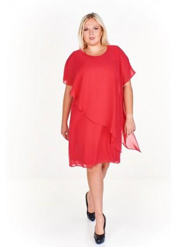 Sukienka koktajlowa ze zwiewną narzutką Plus Size