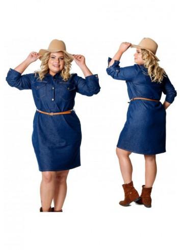 Ponadczasowa Jeansowa Sukienka PLUS SIZE Cavar SJ-67 Plus Size