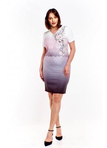 Sukienka w ciekawy wzór ombre Plus Size