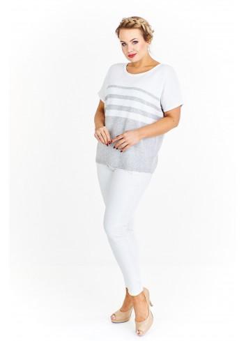 Lekki pastelowy sweter z krótkim rękawem