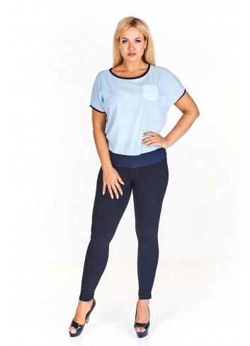 Bluzka z krótkim rękawem i kieszonką Plus Size