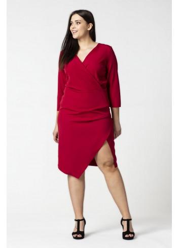 Kopertowa sukienka z rozcięciem Plus Size