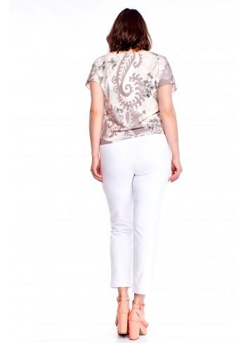 Wzorzysta bluzka z wiązaniem Plus Size