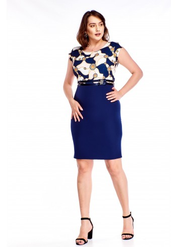 Ołówkowa sukienka z wzorzystą górą Plus Size