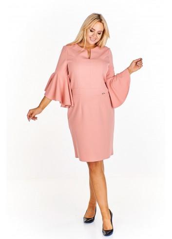Sukienka z rozkloszowanymi falbaniastymi rękawami Plus Size