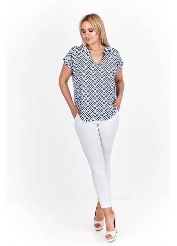Wzorzysta bluzka koszulowa Plus Size