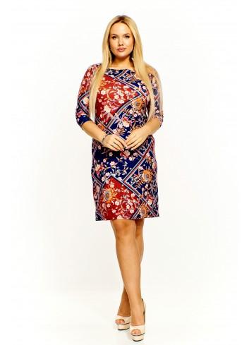 Sukienka w kolorowy wzór Plus Size