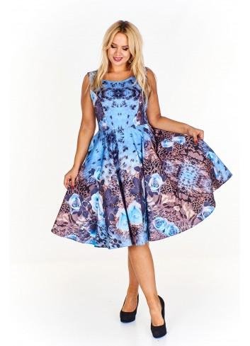 Rozkloszowana wzorzysta sukienka Plus Size