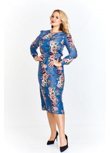 Sukienka w kwiatowy wzór z bufkami i wstawką w pasie Plus Size