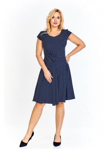 Sukienka z rozkloszowanym dołem i wiązaniem w pasie Plus Size