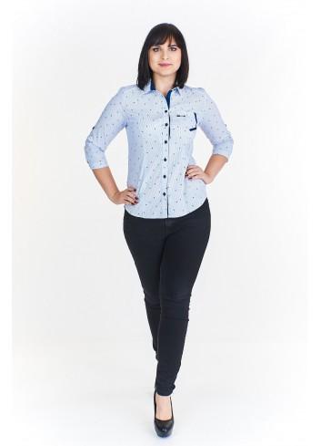Bluzka koszulowa z kontrastującymi wstawkami