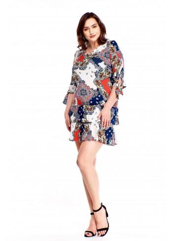 Wzorzysta sukienka z falbaniastym dołem Plus Size