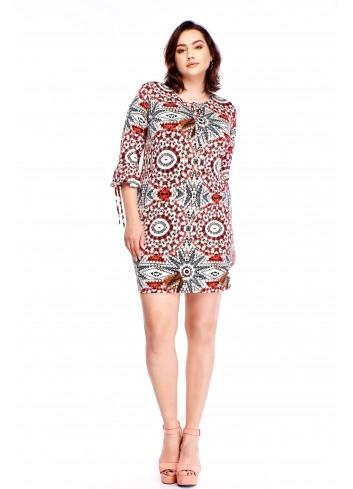 Sukienka we wzory z rękawem 3/4 Plus Size
