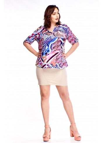 Wzorzysta bluzka ze stójką Plus Size