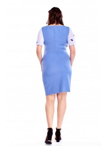 Sukienka ze zwiewną narzutką we wzory Plus Size